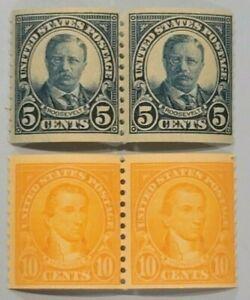 Scott#: 602/603 - Theodore Roosevelt & James Monroe Coil Pairs MNH OG - Lot 8