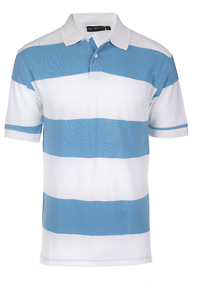 MENS POLO SHIRT 100/%COTTON HEAVY SELF STRIPE CLASSIC SPORTY FASHION WHITE /& BLUE