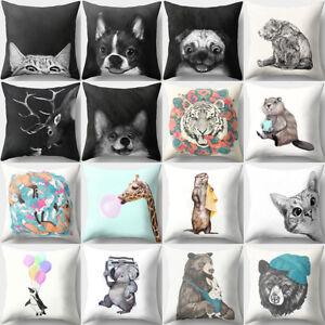 Cartoon Cat Giraffe Puppy Animal Pattern Square Pillow