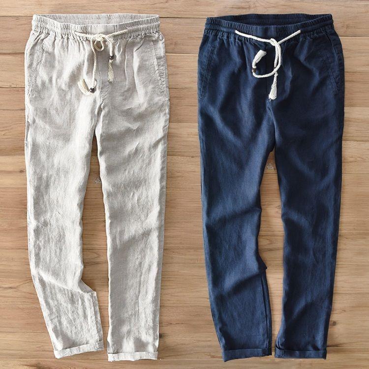 Retro Mens Linen Straight Trousers Elastic Waist Beach Boot Cut casual Pants