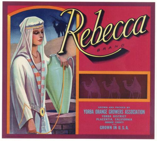 *Original* REBECCA Woman Bible Scripture Placentia Orange Crate Label NOT A COPY