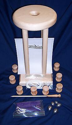 "KUMIHIMO MARUDAI  HARD MAPLE 10/"" DIA 24/"" High Weights Bag /& Rod 8 Bobbins"