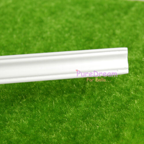 Dollhouse miniature molding wood trim top line log right-angle 12pcs white OA001