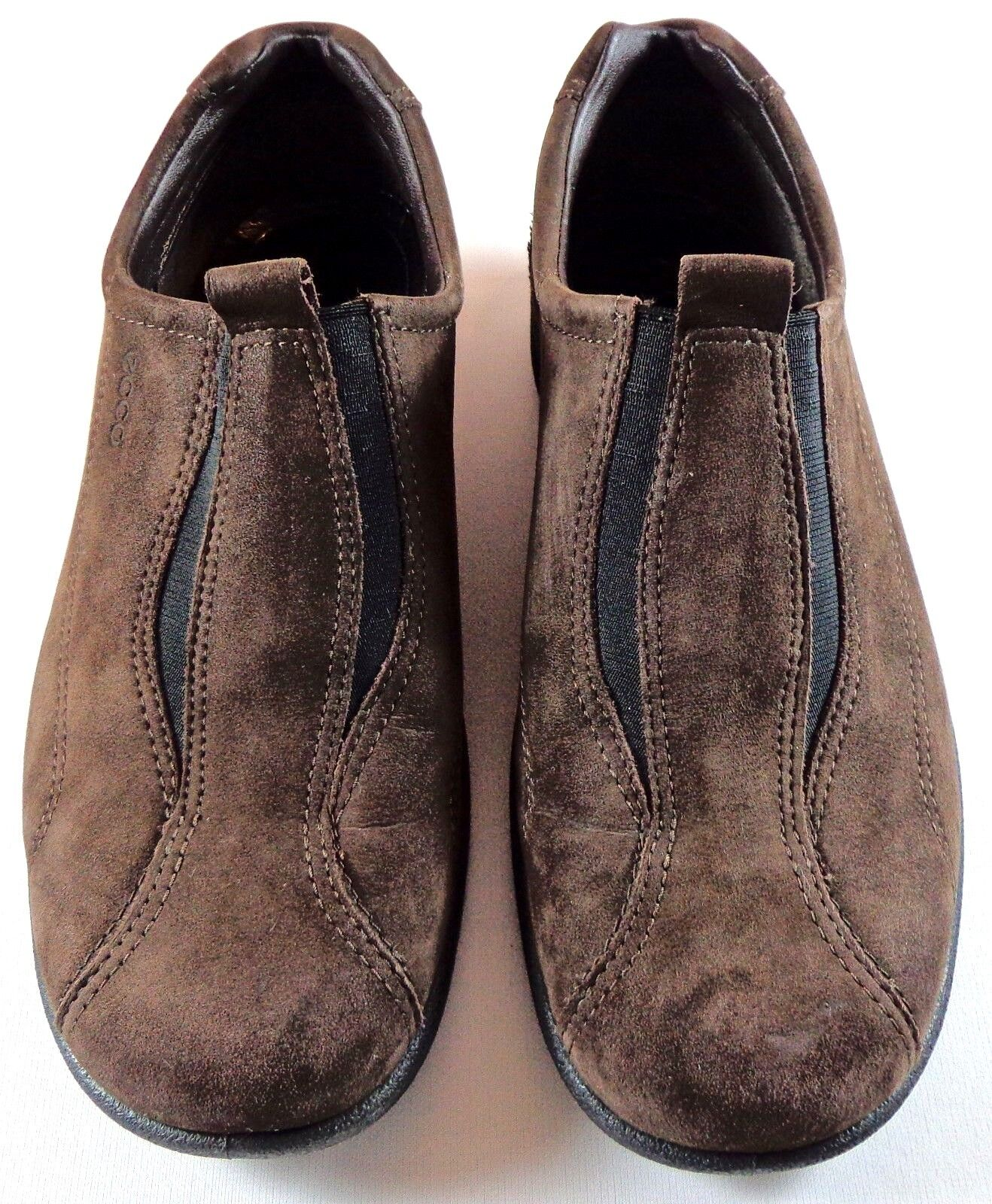 ECCO Brown Suede Loafers Donna Slip On Shoes Size 37 6.5