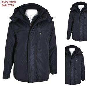official photos 837e3 c40f3 Dettagli su Giubbotto giaccone uomo invernale nero con pettorina cappuccio  tg M L XL 2XL 3XL
