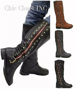studded knee high color buckle stacked