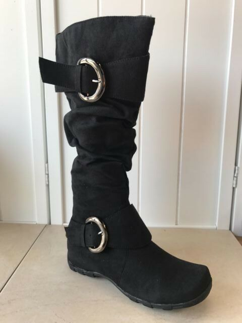 Women's Black Vegan Suede Boots with buckle fastening