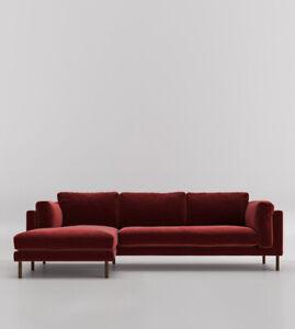 Swoon Munich Rouge Easy Velvet Left Hand Three Seater Corner Sofa - RRP £1679