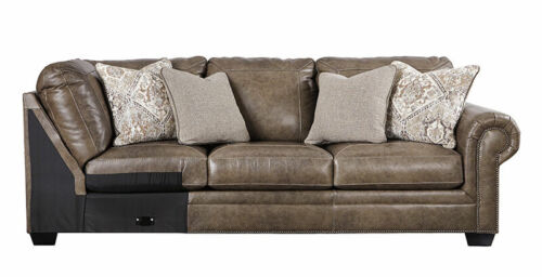 NEW Traditional Sectional Living Room Taupe Brown Leather Sofa Couch Set IG2O
