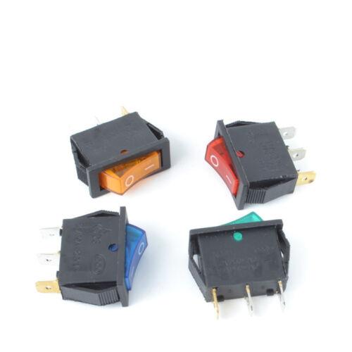 10Pcs KCD3 Green 2 Position 3 Pin Rectangle ON//OFF LED Rocker Switch 16A 250V AC
