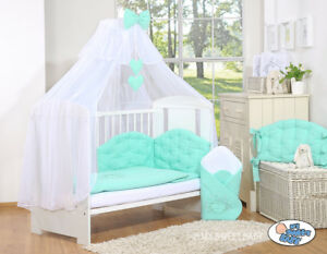 LUXURY 7pcs BABY BEDDING SET  CANOPY BUMPER 4 BABY COT or COTBED/ TEDDY CHIC