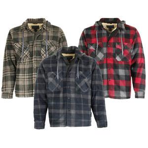 Maxxsel-Men-039-s-Sherpa-Lined-Plaid-Polar-Fleece-Flannel-Zip-Up-Hooded-Shirt-Jacket