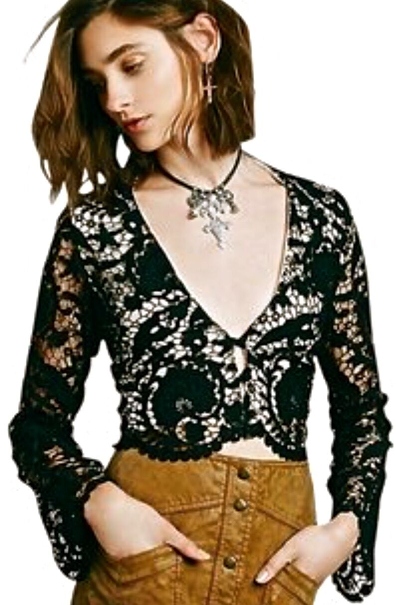 NWT Stone Cold Fox schwarz Lace Crop Bell Sleeve Bought at Free People Jacket 1 S