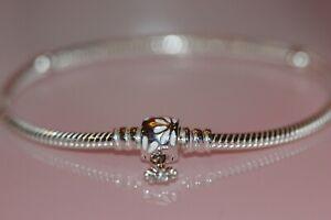 Nib Pandora Moments Daisy Flower Clasp Snake Chain Bracelet 598776c01 75 Ebay