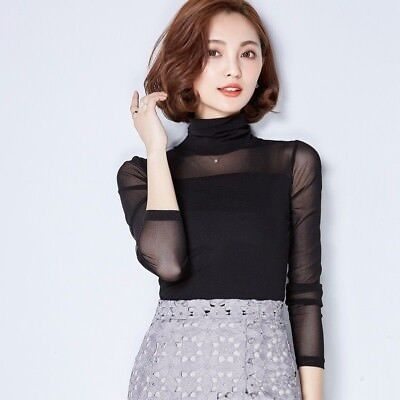 Damen Rollkragen Netz T-Shirt durchsichtig Oberteile Bluse elegant Schier Hemd