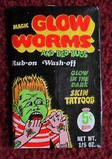 Unopened Wax Pack Worms & Bed Bugs Glow-in-the-dark Skin Tattoos ~ 1971 Fleer