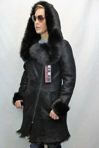 Black-100-Toscana-Sheepskin-Shearling-Leather-Winter-Coat-Jacket-Hood-XS-7XL