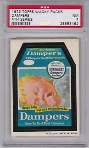1973-Topps-Wacky-Packages-DAMPERS-PSA-7-NM-Series-4-Packs-CENTERED