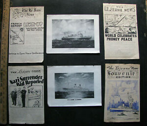 1945-USS-LEJEUNE-Shipboard-Newspapers-w-Ship-Drawings-GERMANY-HIMMLER-SURRENDER