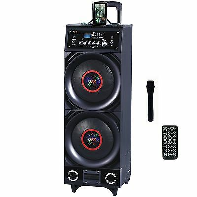 BLUETOOTH PORTABLE DISCO SPEAKER w/ MICROPHONE USB REMOTE RECHARGEABLE BATTERY