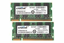 Crucial 4GB 2X 2GB PC2-6400 2RX8 DDR2-800MHz 200PIN SO-DIMM RAM Laptop Memory