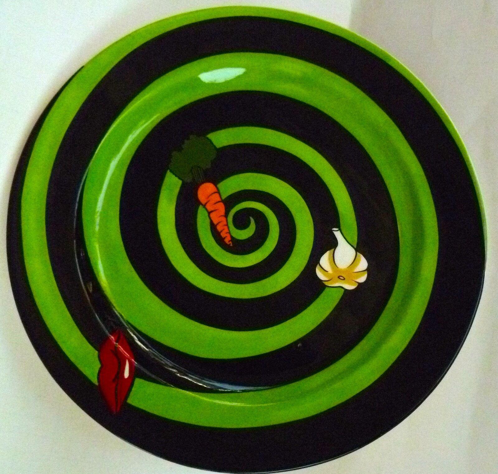 DECORATIVE PLATTER BY ARTIST KAREN BARONE  SPIRALING TARGET W VEG & RED LIPS