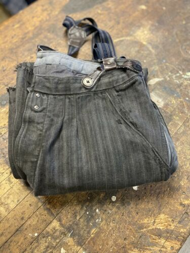 Vintage French Workwear Buckle Back Pants Moleskin