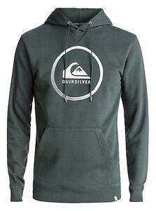 Taille-L-Capuche-Homme-Quiksilver-Big-Logo-Gris-Urban-Gris-Hoodie