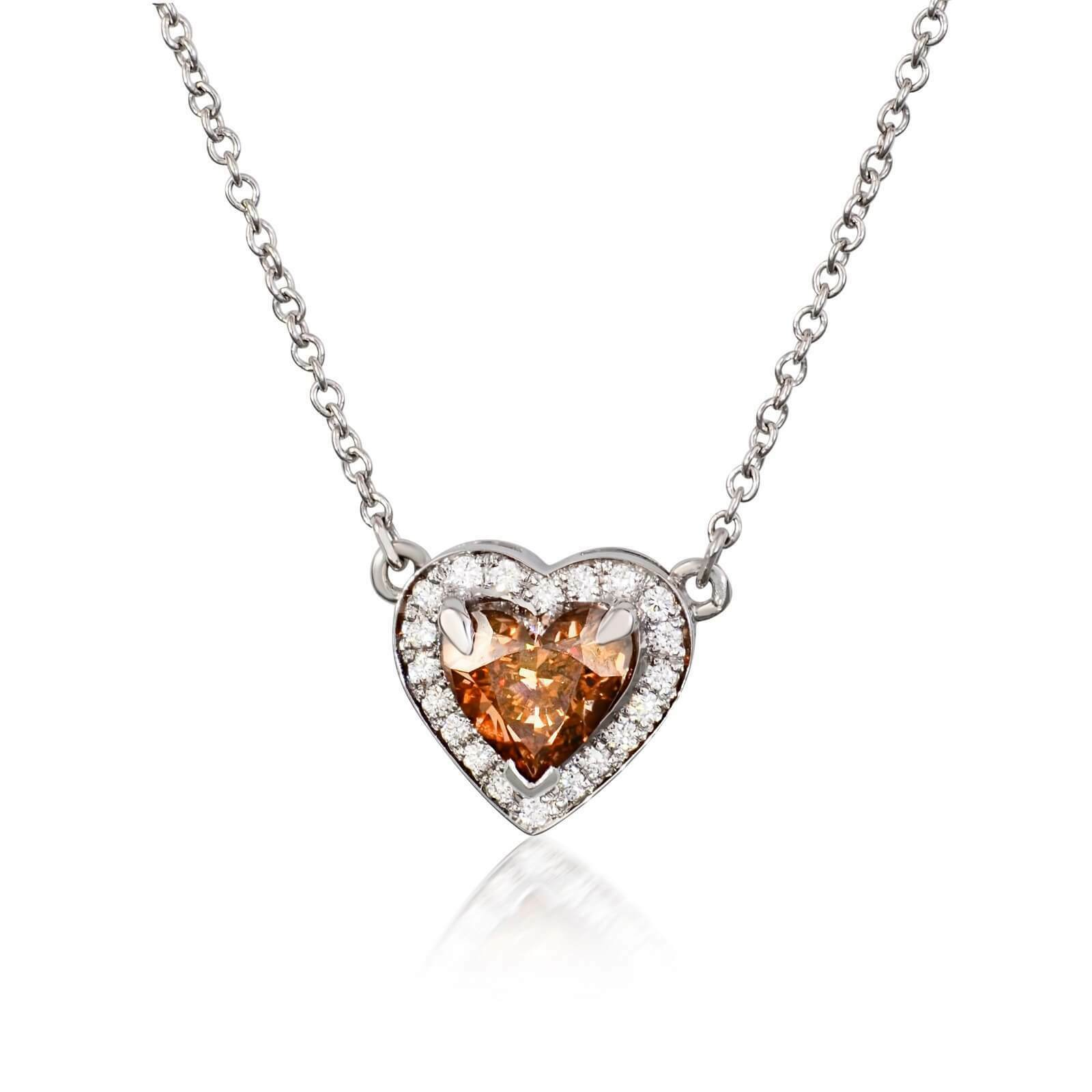 18K White gold Heart Shaped Champagne color Pendant 0.86CTW GIA