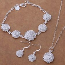 Necklace Bracelet Earrings Floral Jewellery Set  Ladies 925 Sterling Silver