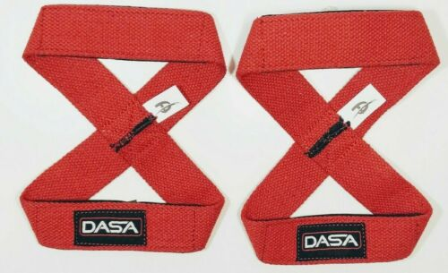 Figure 8 Training Gym Bar Padded Wrist Straps training and weight lifting RED.