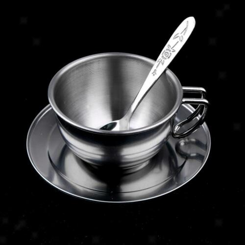 Kids Stainless Steel Kitchen Tableware Pretend Play Toy Coffee Pot Cup Set