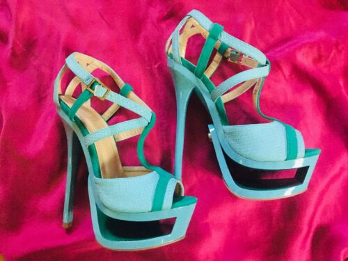 FETISH OR FUN BLUE/AQUA/TEAL HIGH HEELS... COMFORT
