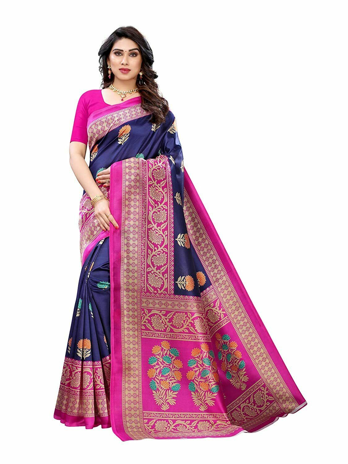 Traditional Women's Poly Silk Dyed bollywood designer party & casual wear saree