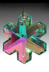 Swarovski-Snowflake-Austrian-Crystal-8811-35mm-Antique-Green-AB-Prism-w-Logo