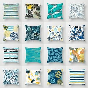 Home-Decoration-18-034-Blue-Leaf-polyester-Cushion-Cover-Throw-Pillow-Case-Sofa