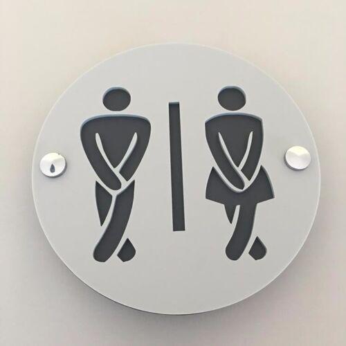 Round Cross Legged Male /& Female Toilet Signs /& Chrome Fixings Light Grey
