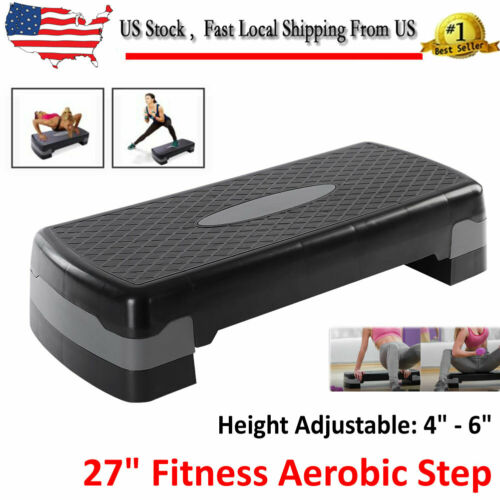 "6/"" Exercise Stepper w//Risers,2-Level,Black 27/"" Fitness Aerobic Step Adjust 4/"""
