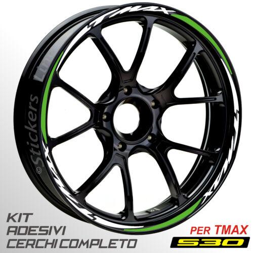 Adesivi cerchi ruote TMAX 530 set profili BIANCO-VERDINO T MAX wheel R.5s