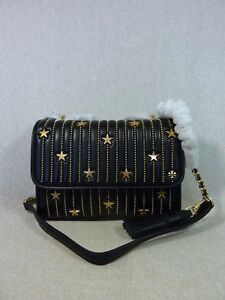 7546ea888c1 NWT Tory Burch Black Fleming Star-Stud Small Convertible Bag  558 ...