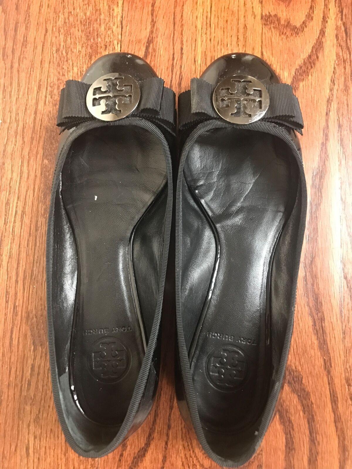Tory Burch schwarz Größe patent Leder flat schuhe Größe schwarz 9.5 28504f