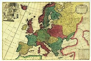 Modern Map Of Italy.Details About Europe Panoramic Map Germany England Spain Italy Etc Modern Postcard