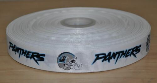 1 Yard 7//8 inch Carolina Panthers Grosgrain Ribbon