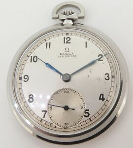 Vintage-Omega-15-Jewel-Steel-Sub-Second-Pocket-Watch-C-1934