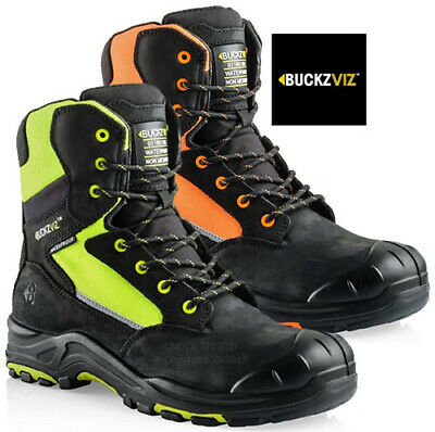 NEW MENS BUCKLER LEATHER COMBAT STEEL TOE CAP SAFETY SHOES WORK BOOTS TRAINERS