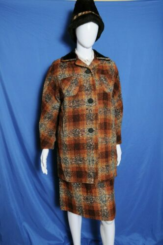 VTG 50s Kerrybrooke two piece brown textured woven