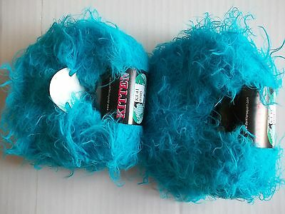 Aqua Celebi Evelina fuzzy eyelash yarn 59 yds each lot of 2