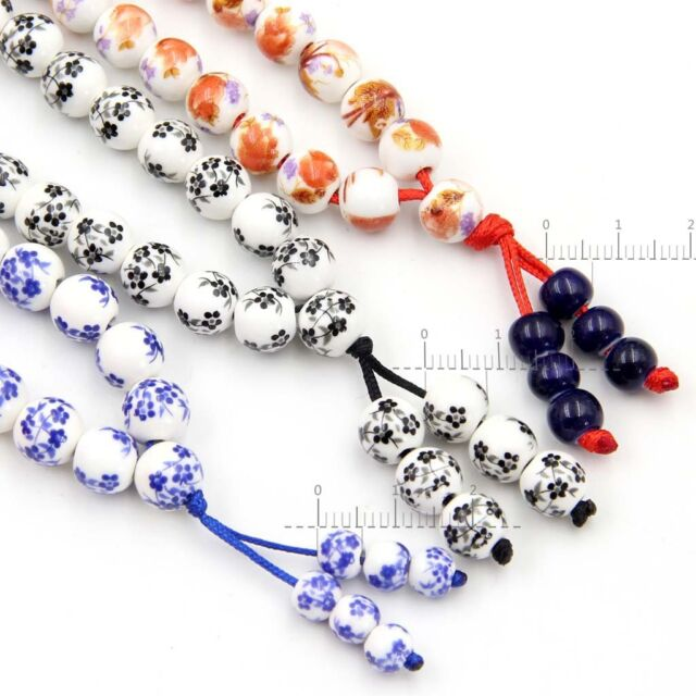 3Pcs Ceramics Porcelain Flower Tibetan Buddhist 108 Prayer Beads Mala Necklace