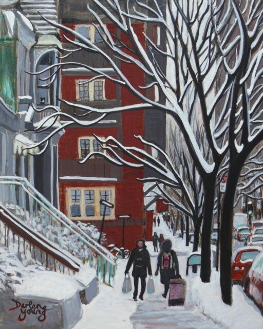 Aylmer Street, McGill Ghetto, 8x10, Egg Tempera, Darlene Young Canadian Artist