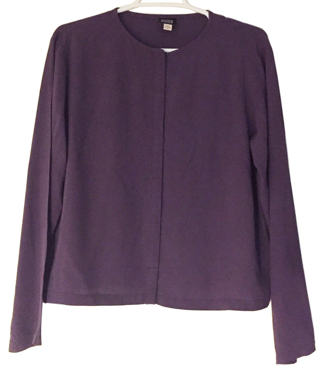 EILEEN FISHER Silk Crepe Button-Front Long Sleeve Blouse Shirt Sz M lila Grape